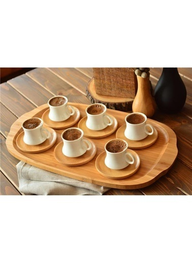 Tohana Ms Morry Bambu Tabaklı Porselen Kahve Fincan Seti Renkli